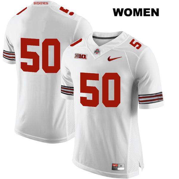 Nathan Brock Nike Womens White Ohio State Buckeyes Authentic Stitched no. 50 College Football Jersey - Without Name - Nathan Brock Jersey