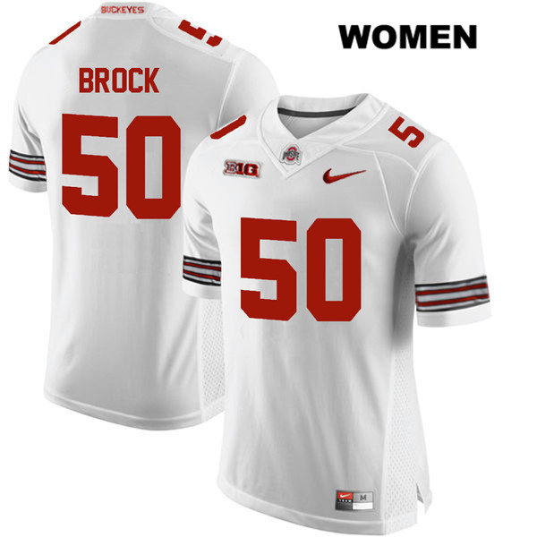 Nathan Brock Womens White Stitched Ohio State Buckeyes Authentic Nike no. 50 College Football Jersey - Nathan Brock Jersey