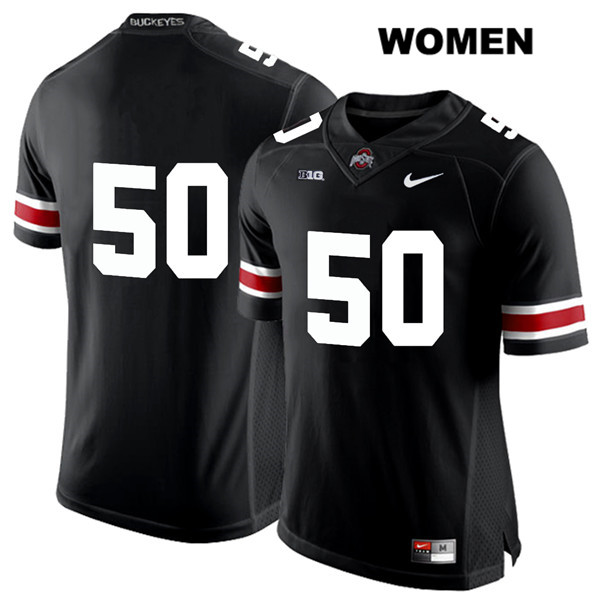 Nathan Brock Womens Nike Black White Font Ohio State Buckeyes Authentic Stitched no. 50 College Football Jersey - Without Name - Nathan Brock Jersey