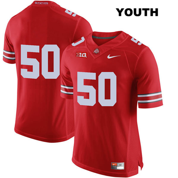 Nathan Brock Youth Red Stitched Ohio State Buckeyes Nike Authentic no. 50 College Football Jersey - Without Name - Nathan Brock Jersey