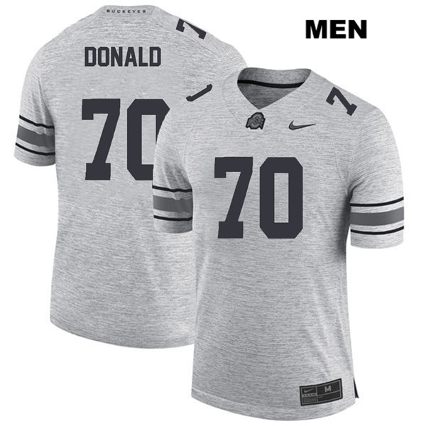 Noah Donald Mens Stitched Gray Ohio State Buckeyes Nike Authentic no. 70 College Football Jersey - Noah Donald Jersey