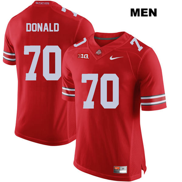 Nike Noah Donald Stitched Mens Red Ohio State Buckeyes Authentic no. 70 College Football Jersey - Noah Donald Jersey