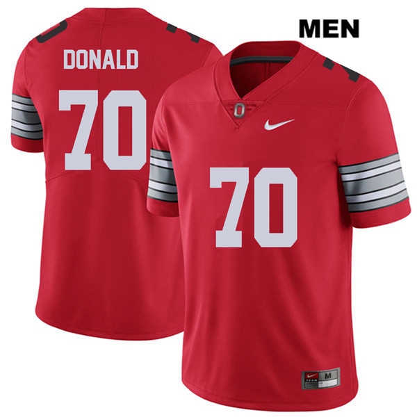 Noah Donald Mens Stitched Red 2018 Spring Game Ohio State Buckeyes Authentic Nike no. 70 College Football Jersey - Noah Donald Jersey
