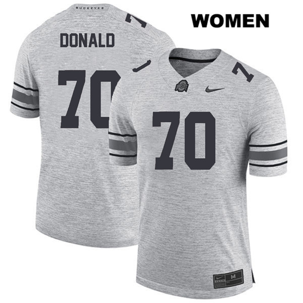 Noah Donald Nike Womens Gray Stitched Ohio State Buckeyes Authentic no. 70 College Football Jersey - Noah Donald Jersey