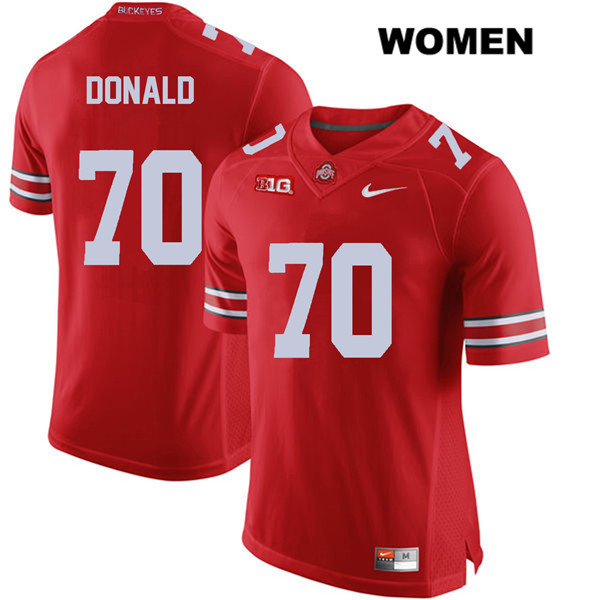 Noah Donald Nike Womens Red Ohio State Buckeyes Authentic Stitched no. 70 College Football Jersey - Noah Donald Jersey