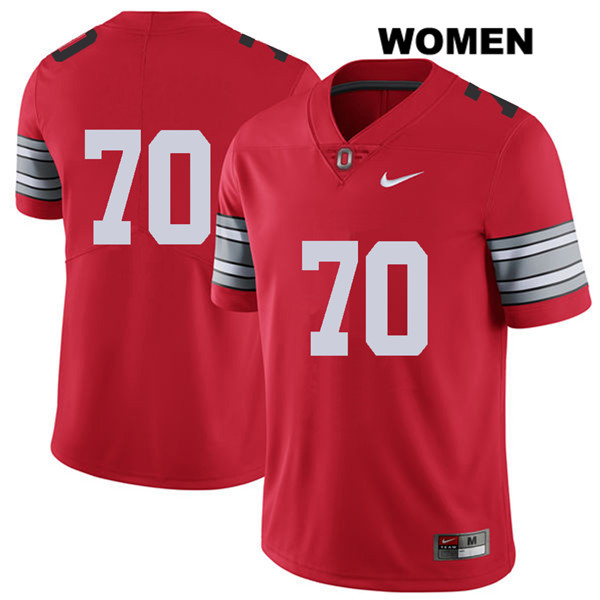Nike Noah Donald Womens Red Stitched Ohio State Buckeyes 2018 Spring Game Authentic no. 70 College Football Jersey - Without Name - Noah Donald Jersey