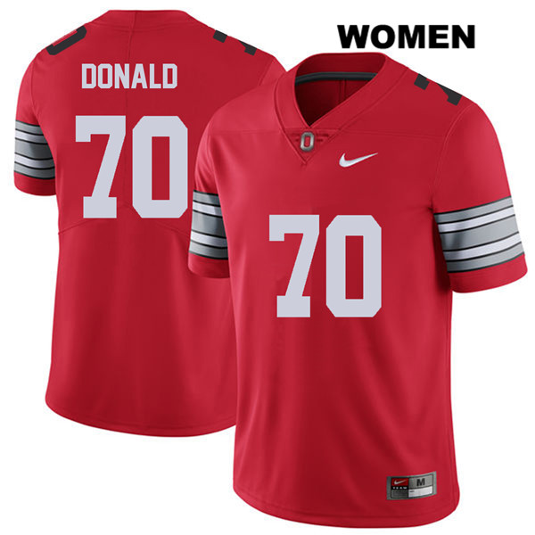 Noah Donald Womens 2018 Spring Game Stitched Red Nike Ohio State Buckeyes Authentic no. 70 College Football Jersey - Noah Donald Jersey