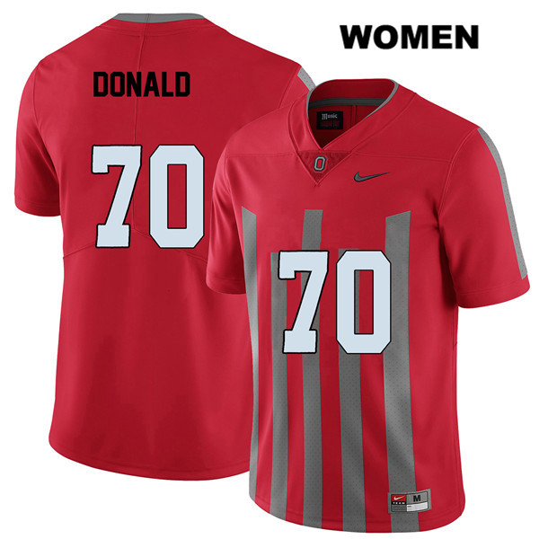 Noah Donald Stitched Womens Red Ohio State Buckeyes Elite Nike Authentic no. 70 College Football Jersey - Noah Donald Jersey