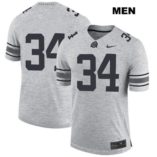 Owen Fankhauser Mens Stitched Gray Ohio State Buckeyes Authentic Nike no. 34 College Football Jersey - Without Name - Owen Fankhauser Jersey