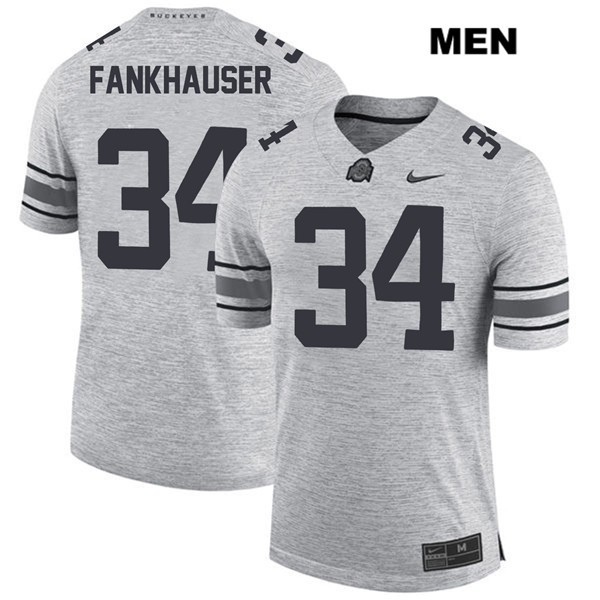Owen Fankhauser Stitched Mens Gray Ohio State Buckeyes Authentic Nike no. 34 College Football Jersey - Owen Fankhauser Jersey