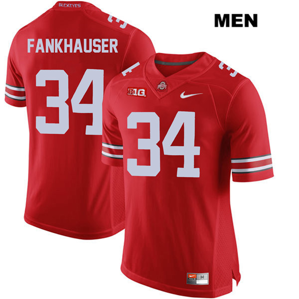 Owen Fankhauser Mens Red Ohio State Buckeyes Nike Authentic Stitched no. 34 College Football Jersey - Owen Fankhauser Jersey