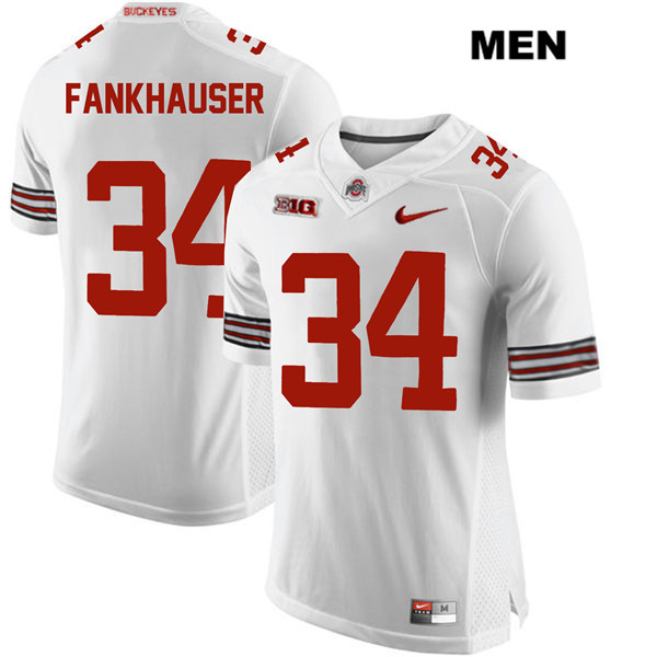 Owen Fankhauser Mens Nike White Ohio State Buckeyes Stitched Authentic no. 34 College Football Jersey - Owen Fankhauser Jersey