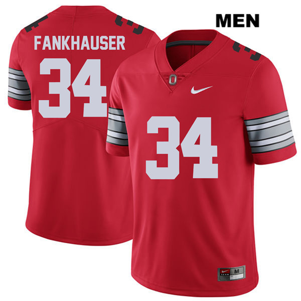Owen Fankhauser 2018 Spring Game Mens Red Ohio State Buckeyes Nike Stitched Authentic no. 34 College Football Jersey - Owen Fankhauser Jersey
