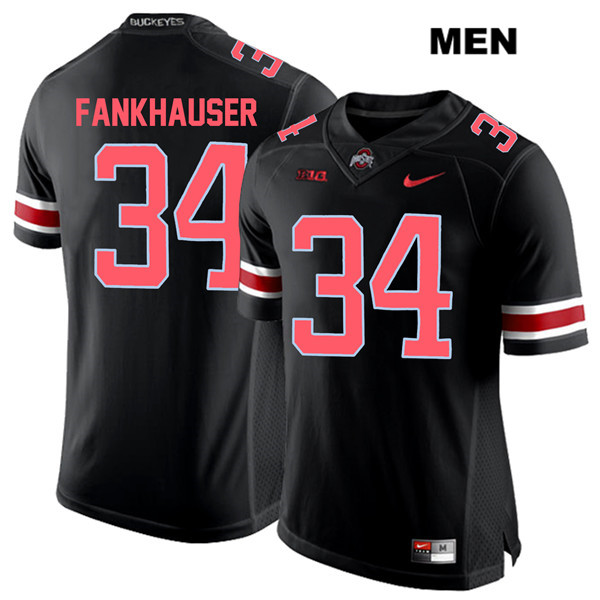 Owen Fankhauser Mens Black Stitched Ohio State Buckeyes Authentic Red Font Nike no. 34 College Football Jersey - Owen Fankhauser Jersey