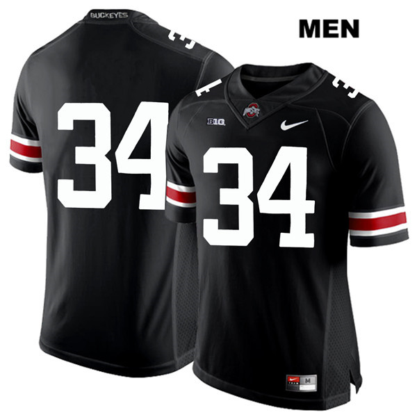 Owen Fankhauser Mens Black Nike Ohio State Buckeyes White Font Stitched Authentic no. 34 College Football Jersey - Without Name - Owen Fankhauser Jersey