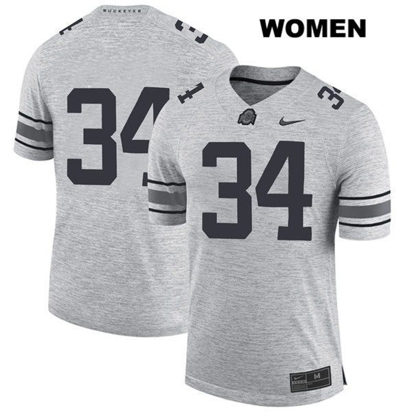Owen Fankhauser Womens Stitched Gray Nike Ohio State Buckeyes Authentic no. 34 College Football Jersey - Without Name - Owen Fankhauser Jersey