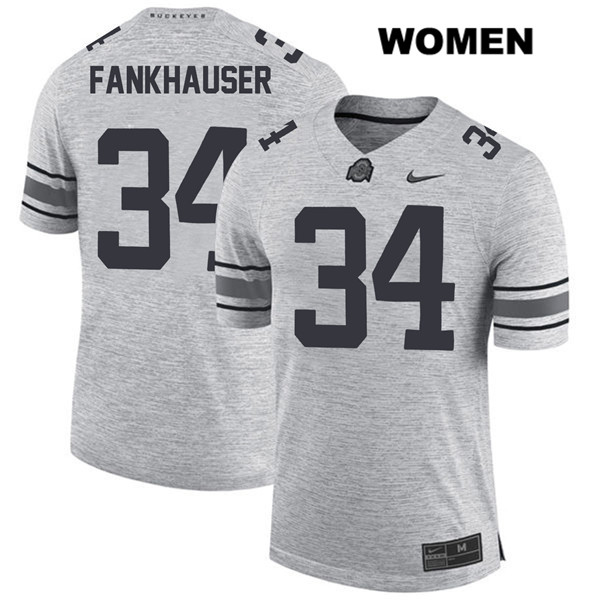 Owen Fankhauser Stitched Womens Gray Ohio State Buckeyes Nike Authentic no. 34 College Football Jersey - Owen Fankhauser Jersey