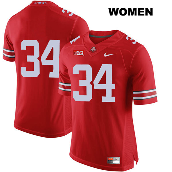 Owen Fankhauser Womens Nike Red Ohio State Buckeyes Authentic Stitched no. 34 College Football Jersey - Without Name - Owen Fankhauser Jersey