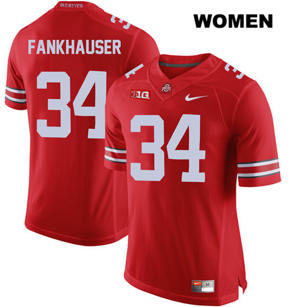Owen Fankhauser Womens Stitched Red Ohio State Buckeyes Nike Authentic no. 34 College Football Jersey - Owen Fankhauser Jersey