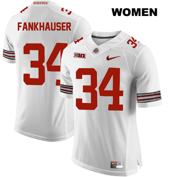 Owen Fankhauser Womens White Stitched Ohio State Buckeyes Nike Authentic no. 34 College Football Jersey - Owen Fankhauser Jersey