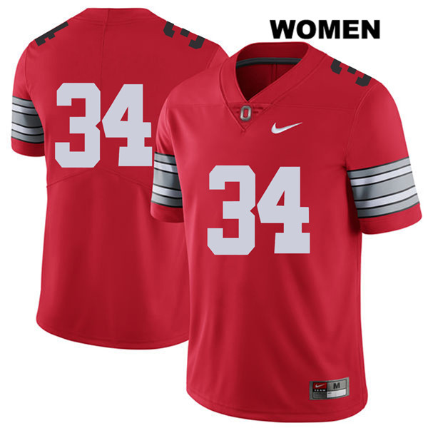 Owen Fankhauser 2018 Spring Game Womens Red Nike Ohio State Buckeyes Stitched Authentic no. 34 College Football Jersey - Without Name - Owen Fankhauser Jersey