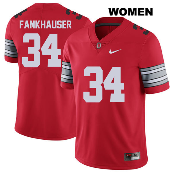 Owen Fankhauser Womens Red Stitched Ohio State Buckeyes 2018 Spring Game Nike Authentic no. 34 College Football Jersey - Owen Fankhauser Jersey