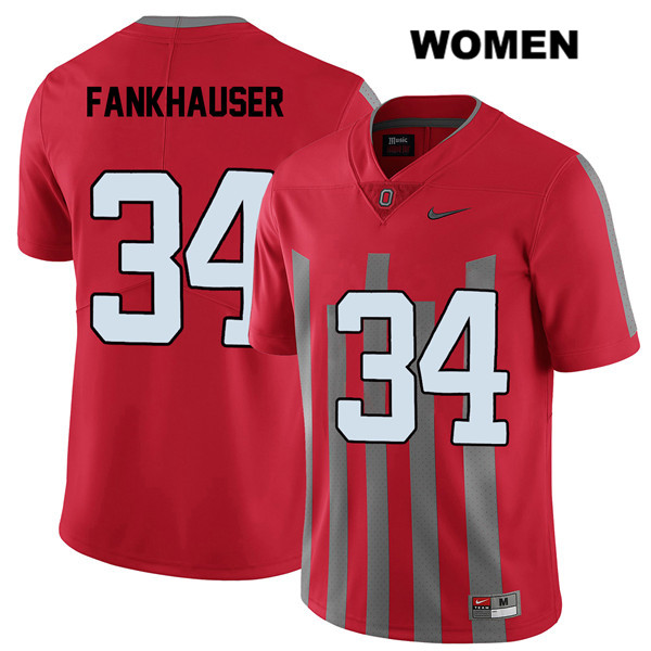 Owen Fankhauser Elite Womens Nike Red Ohio State Buckeyes Authentic Stitched no. 34 College Football Jersey - Owen Fankhauser Jersey