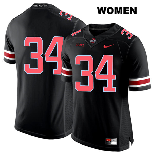 Owen Fankhauser Nike Womens Red Font Black Stitched Ohio State Buckeyes Authentic no. 34 College Football Jersey - Without Name - Owen Fankhauser Jersey