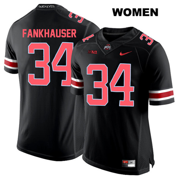 Owen Fankhauser Womens Stitched Nike Black Red Font Ohio State Buckeyes Authentic no. 34 College Football Jersey - Owen Fankhauser Jersey