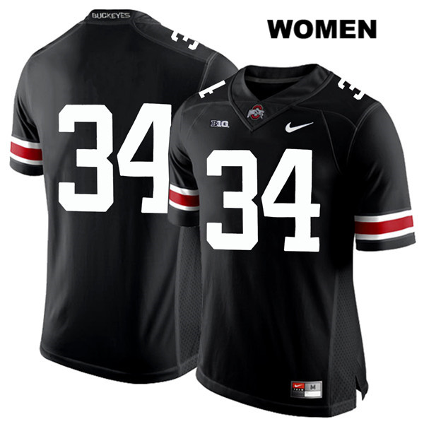 Owen Fankhauser Stitched Womens White Font Black Nike Ohio State Buckeyes Authentic no. 34 College Football Jersey - Without Name