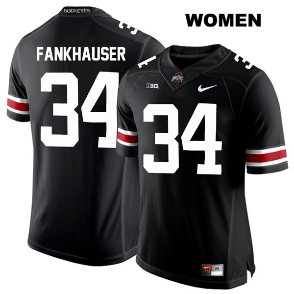 Owen Fankhauser White Font Womens Black Nike Ohio State Buckeyes Stitched Authentic no. 34 College Football Jersey - Owen Fankhauser Jersey