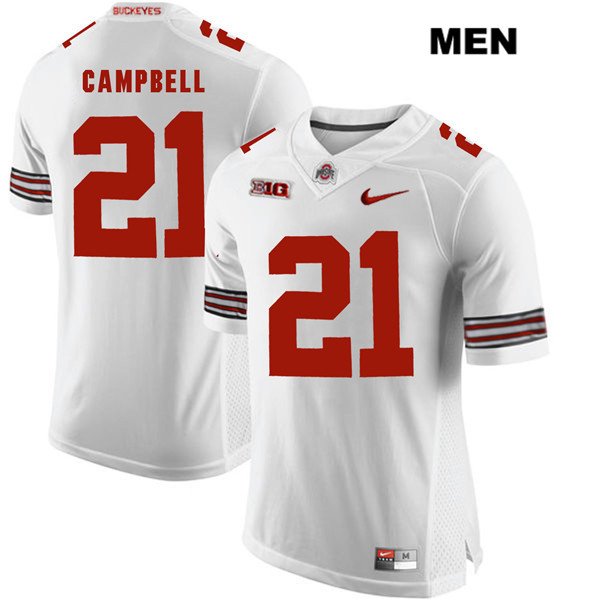 Parris Campbell Mens Stitched White Nike Ohio State Buckeyes Authentic no. 21 College Football Jersey - Parris Campbell Jersey