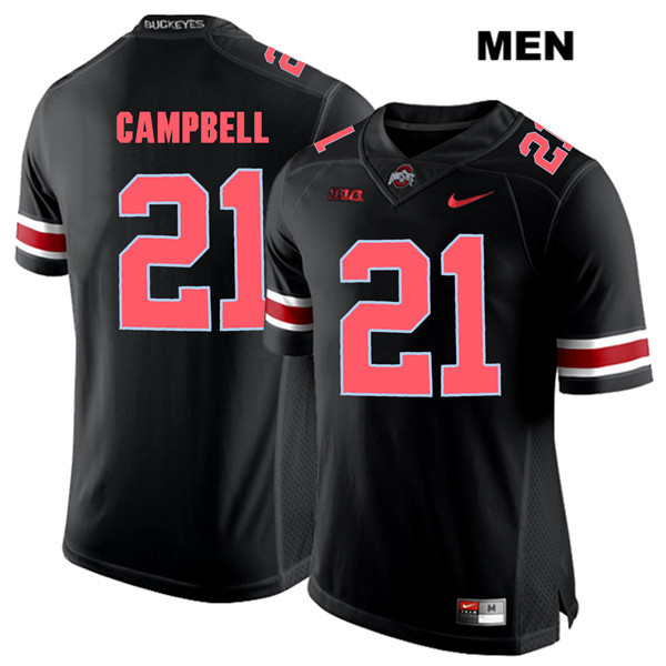Parris Campbell Mens Stitched Nike Black Red Font Ohio State Buckeyes Authentic no. 21 College Football Jersey - Parris Campbell Jersey