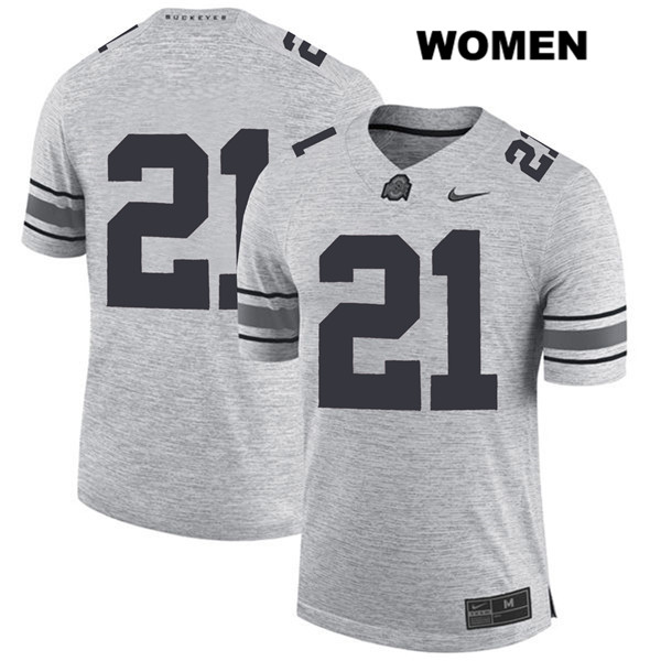 Parris Campbell Womens Gray Nike Stitched Ohio State Buckeyes Authentic no. 21 College Football Jersey - Without Name - Parris Campbell Jersey