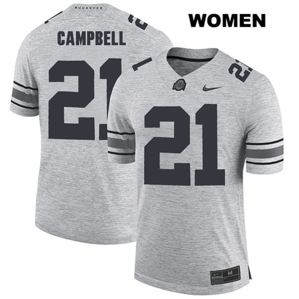 Parris Campbell Womens Stitched Gray Ohio State Buckeyes Nike Authentic no. 21 College Football Jersey - Parris Campbell Jersey