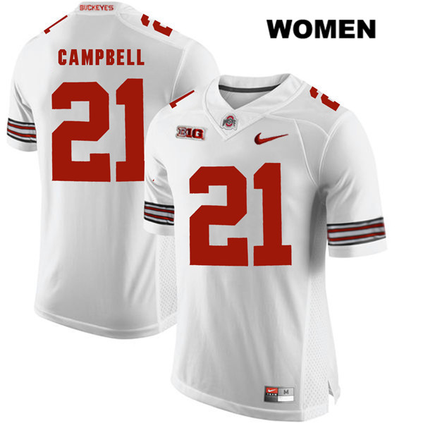 Parris Campbell Womens Nike White Ohio State Buckeyes Stitched Authentic no. 21 College Football Jersey - Parris Campbell Jersey