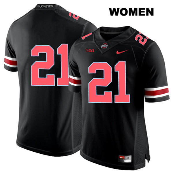 Parris Campbell Womens Black Ohio State Buckeyes Nike Authentic Red Font Stitched no. 21 College Football Jersey - Without Name - Parris Campbell Jersey