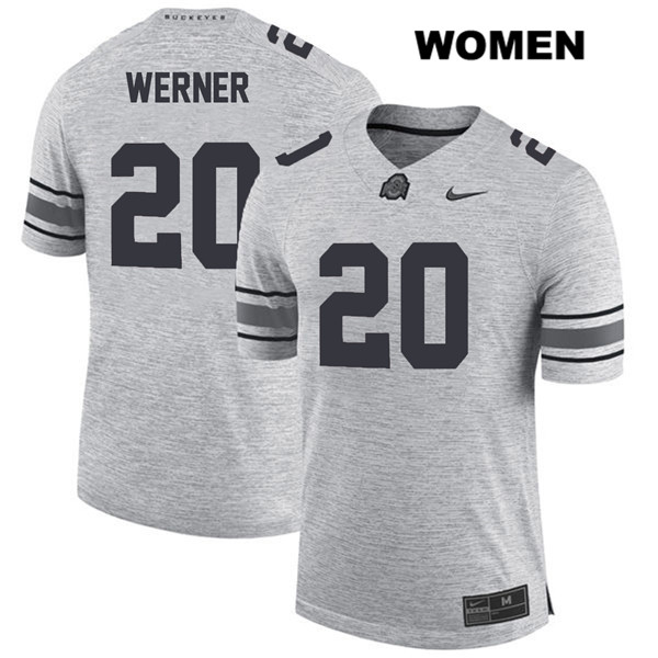 Pete Werner Stitched Womens Gray Ohio State Buckeyes Authentic Nike no. 20 College Football Jersey - Pete Werner Jersey