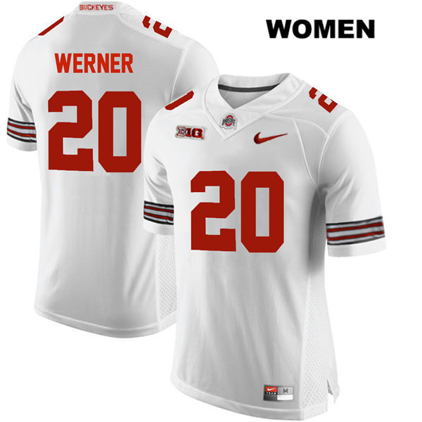 Pete Werner Nike Womens White Stitched Ohio State Buckeyes Authentic no. 20 College Football Jersey - Pete Werner Jersey