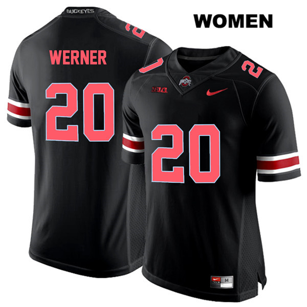 Pete Werner Nike Womens Black Stitched Ohio State Buckeyes Red Font Authentic no. 20 College Football Jersey - Pete Werner Jersey
