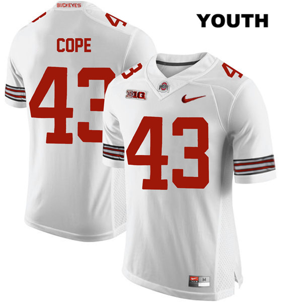 Stitched Robert Cope Youth White Ohio State Buckeyes Authentic Nike no. 43 College Football Jersey