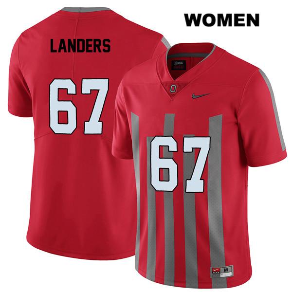 Robert Landers Stitched Womens Red Nike Ohio State Buckeyes Authentic Elite no. 67 College Football Jersey - Robert Landers Jersey