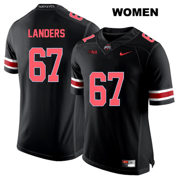 Robert Landers Womens Stitched Black Nike Red Font Ohio State Buckeyes Authentic no. 67 College Football Jersey - Robert Landers Jersey