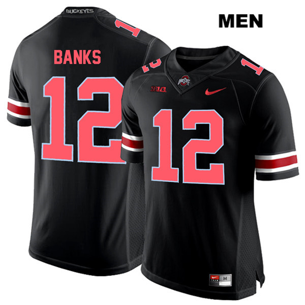 Sevyn Banks Mens Black Red Font Ohio State Buckeyes Nike Authentic Stitched no. 12 College Football Jersey - Sevyn Banks Jersey