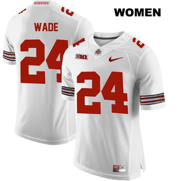 Shaun Wade Stitched Womens White Ohio State Buckeyes Authentic Nike no. 24 College Football Jersey