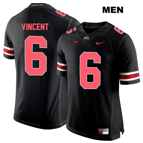 Stitched Taron Vincent Red Font Mens Black Ohio State Buckeyes Nike Authentic no. 6 College Football Jersey