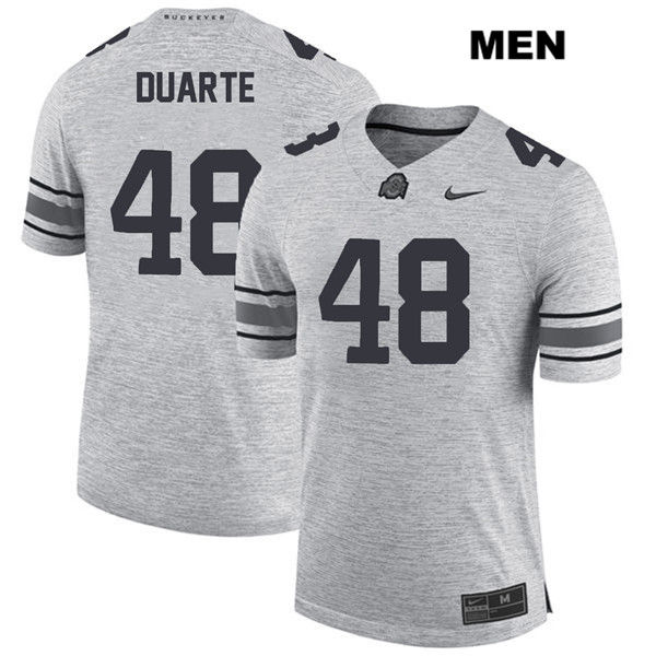 Tate Duarte Mens Stitched Gray Ohio State Buckeyes Authentic Nike no. 48 College Football Jersey - Tate Duarte Jersey