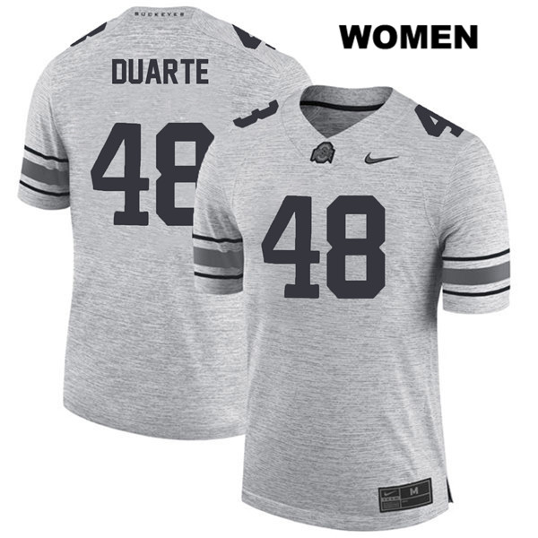 Nike Tate Duarte Stitched Womens Gray Ohio State Buckeyes Authentic no. 48 College Football Jersey - Tate Duarte Jersey