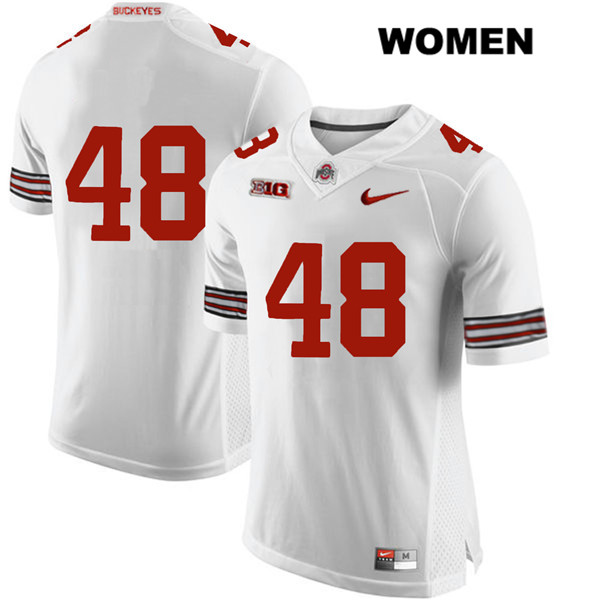 Tate Duarte Stitched Womens White Ohio State Buckeyes Authentic Nike no. 48 College Football Jersey - Without Name - Tate Duarte Jersey