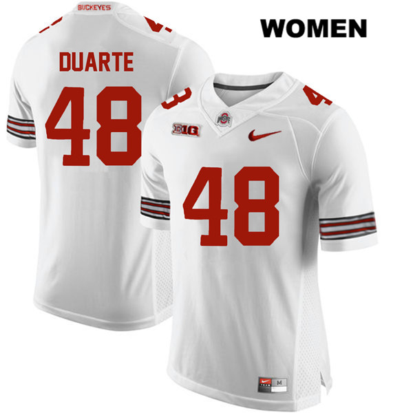 Stitched Tate Duarte Womens White Ohio State Buckeyes Authentic Nike no. 48 College Football Jersey - Tate Duarte Jersey